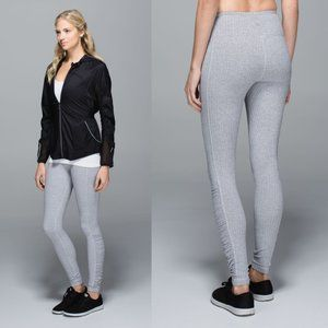 Lululemon White Herringbone Rulu Turn Around Tight